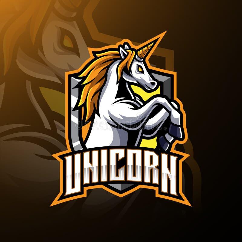 Projeto de salto do logotipo da mascote do unicórnio ilustração royalty free