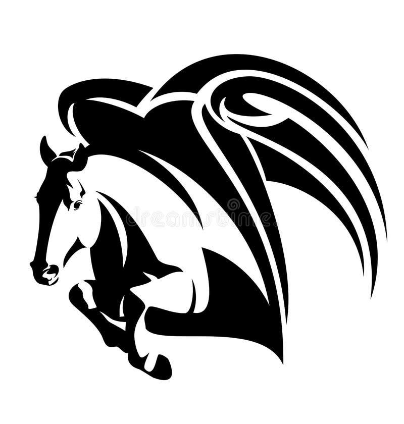 Projeto de salto do vetor do preto do cavalo de pegasus ilustração do vetor