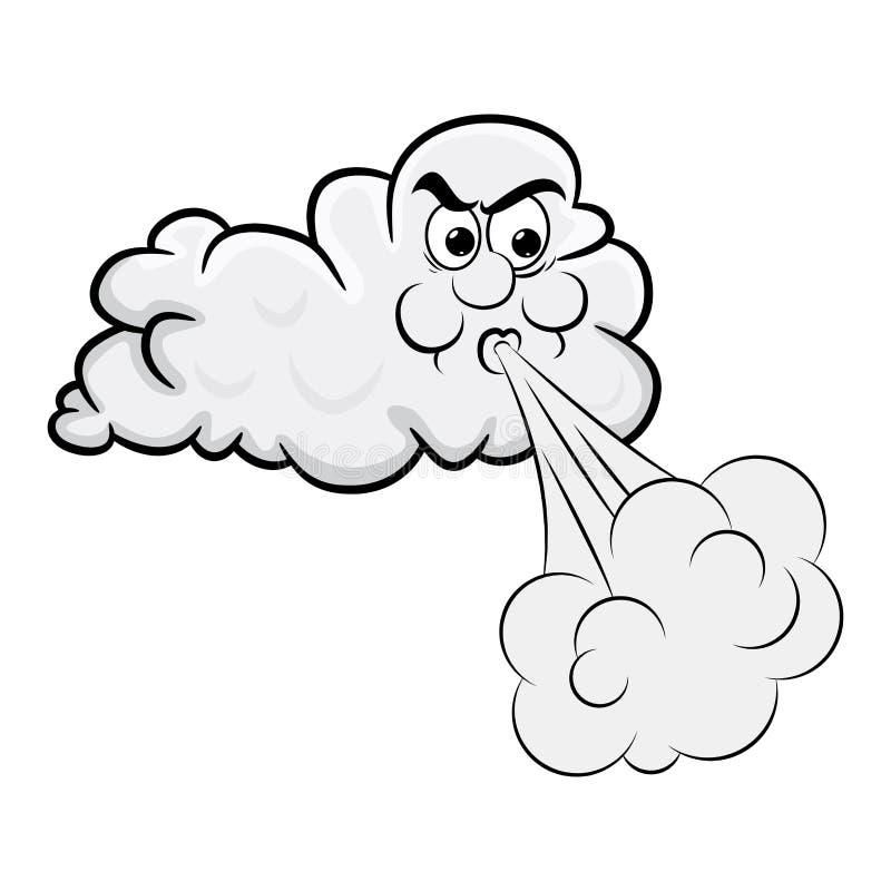 Projeto de sopro dos desenhos animados da nuvem isolado no fundo branco ilustração royalty free