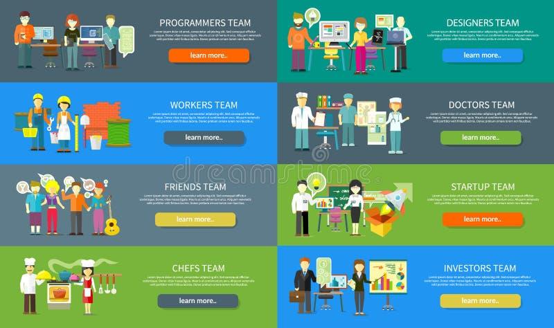 Projeto de Team People Job Concept Flat do trabalho ilustração do vetor