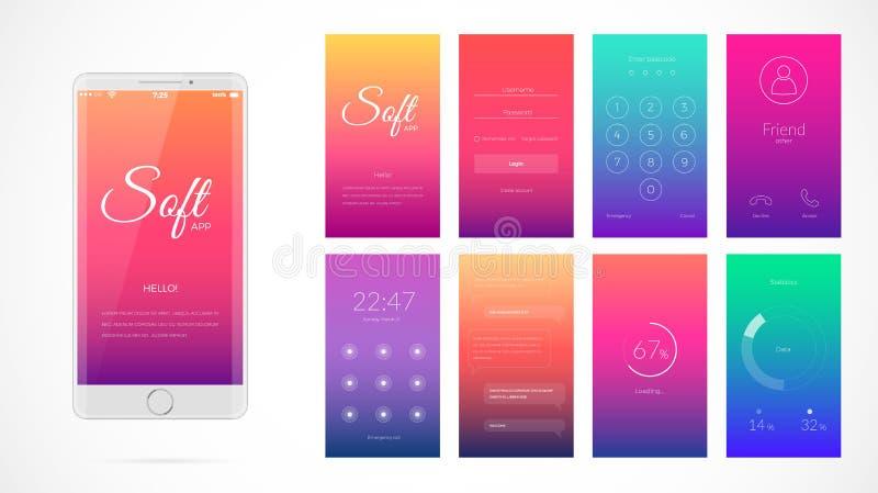 Projeto de tela moderno de UI para o app móvel com ícones da Web ilustração stock