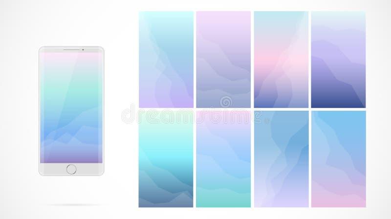 Projeto de tela moderno de UI para o app móvel com ícones da Web ilustração do vetor