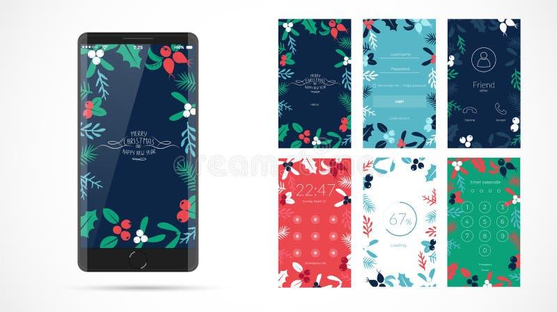 Projeto de tela moderno do Natal para o app móvel com ícones da Web ilustração do vetor