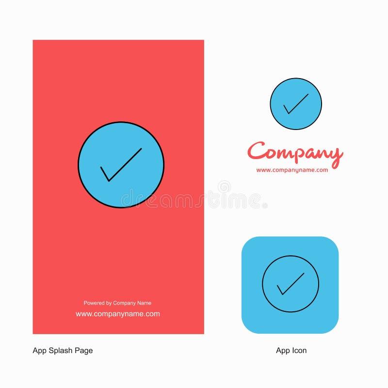 Projeto de Tick Company Logo App Icon e da página do respingo Elementos criativos do projeto do App do negócio ilustração stock