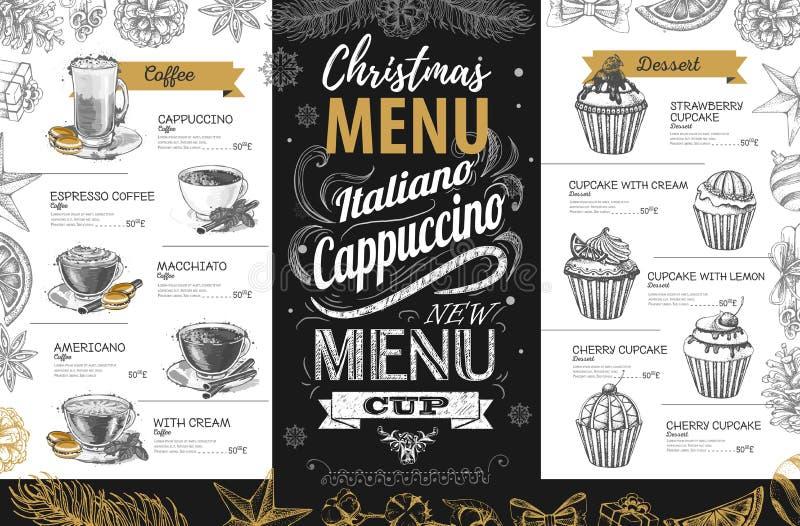 Projeto de tiragem do menu do feriado do Natal da mão ilustração stock