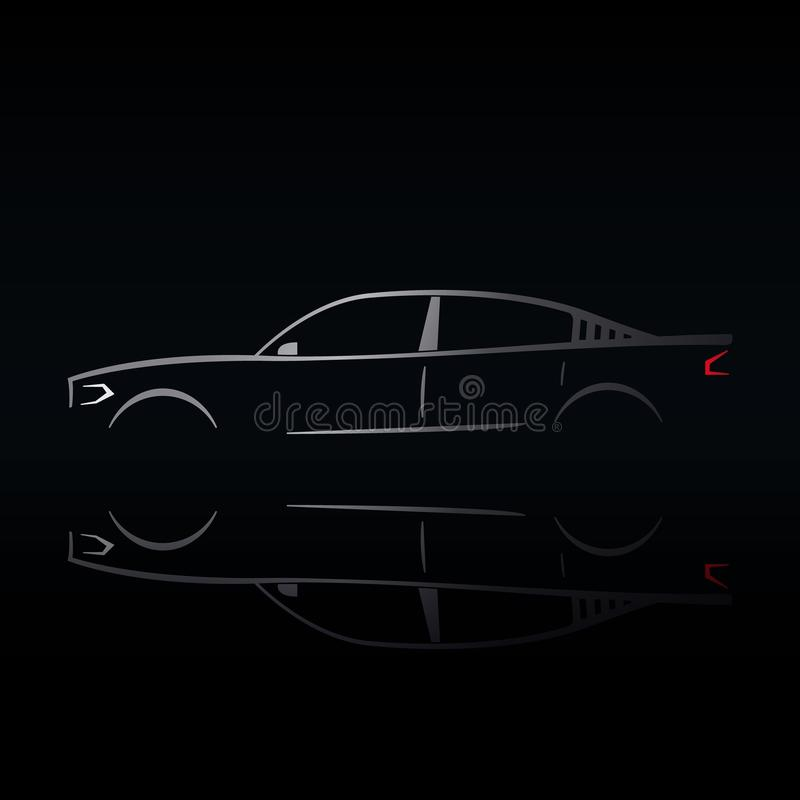 Projeto de um carro de prata em um fundo preto ilustração royalty free