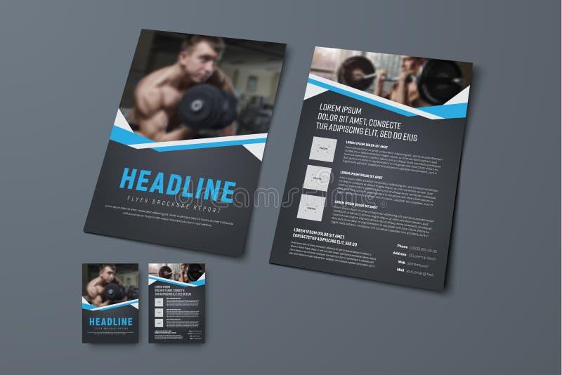 Projeto de um folheto preto com fitas azuis e um lugar para o pho ilustração stock