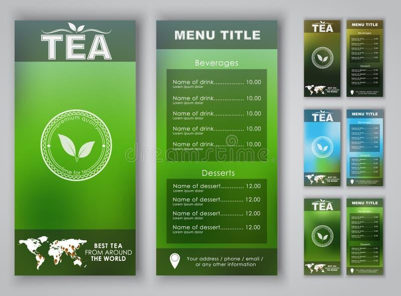 Projeto de um menu do chá com fundo borrado ilustração royalty free