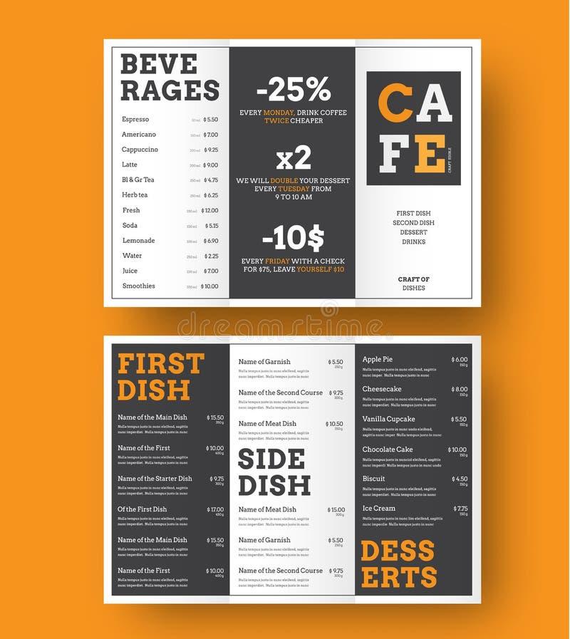 Projeto de um menu dobr?vel em tr?s partes para caf?s e restaurantes com alternar blocos preto e branco com os elementos alaranja ilustração do vetor