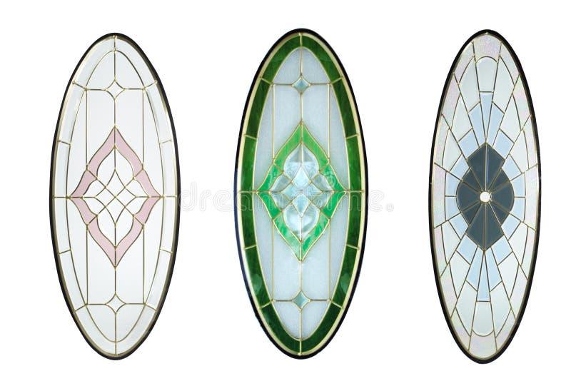 Projeto de vidro isolado para a porta de madeira com fundo branco fotografia de stock
