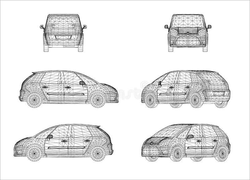 Projeto de Wireframe do carro ilustração do vetor