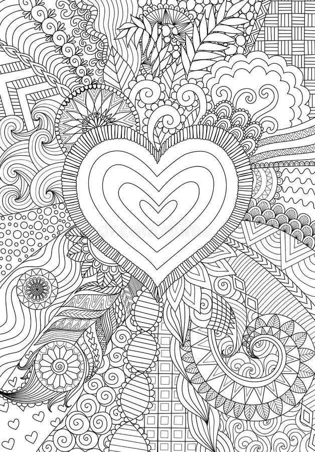 Projeto de Zendoodle da forma do coração na linha abstrata projeto do fundo da arte ilustração do vetor