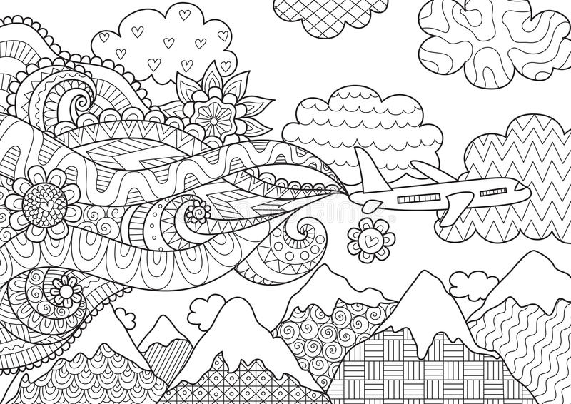 Projeto de Zendoodle do avião para a ilustração ilustração stock