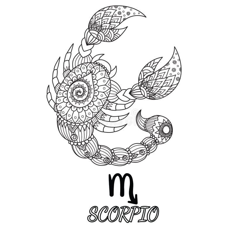 Projeto de Zendoodle do sinal do zodíaco da Escorpião para o elemento do projeto e a página do livro para colorir do adulto Vetor ilustração royalty free