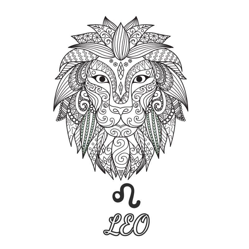 Projeto de Zendoodle do sinal do zodíaco do Leão para a página da ilustração e do livro para colorir para o adulto Vetor conserva ilustração stock