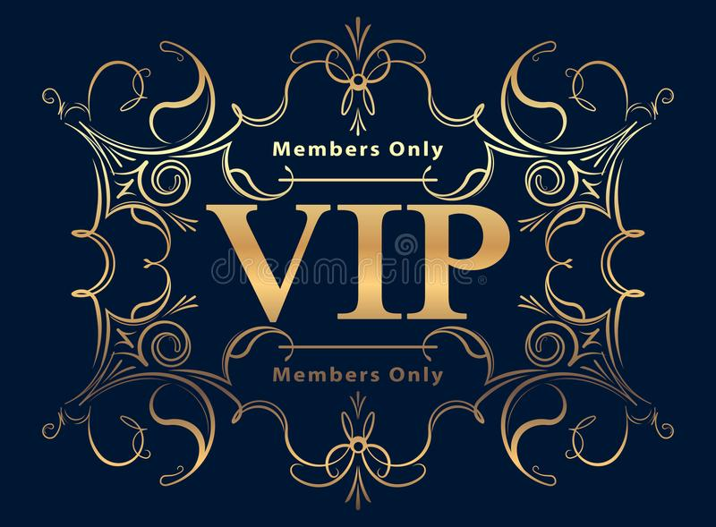 Projeto decorado rico em uma obscuridade - fundo azul do VIP do ouro ilustração royalty free