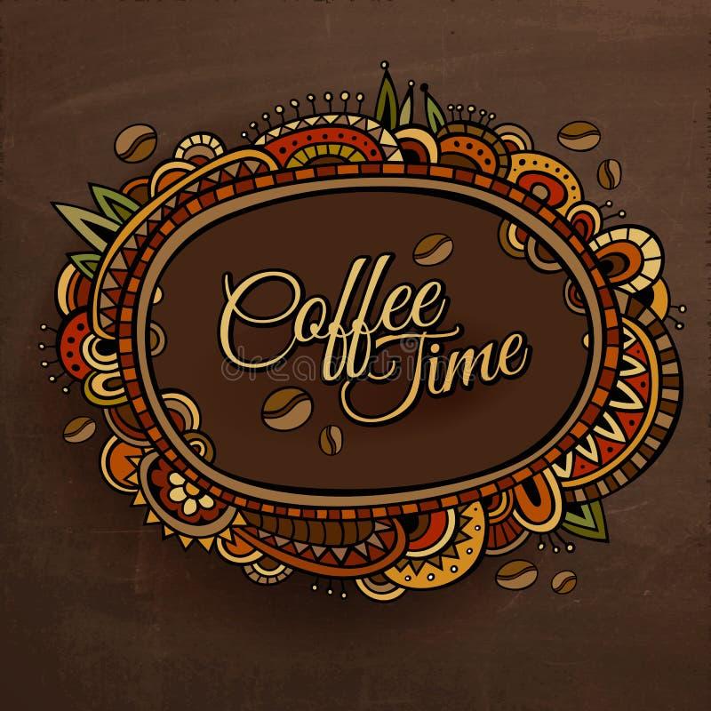 Projeto decorativo da etiqueta da beira do tempo do café ilustração stock
