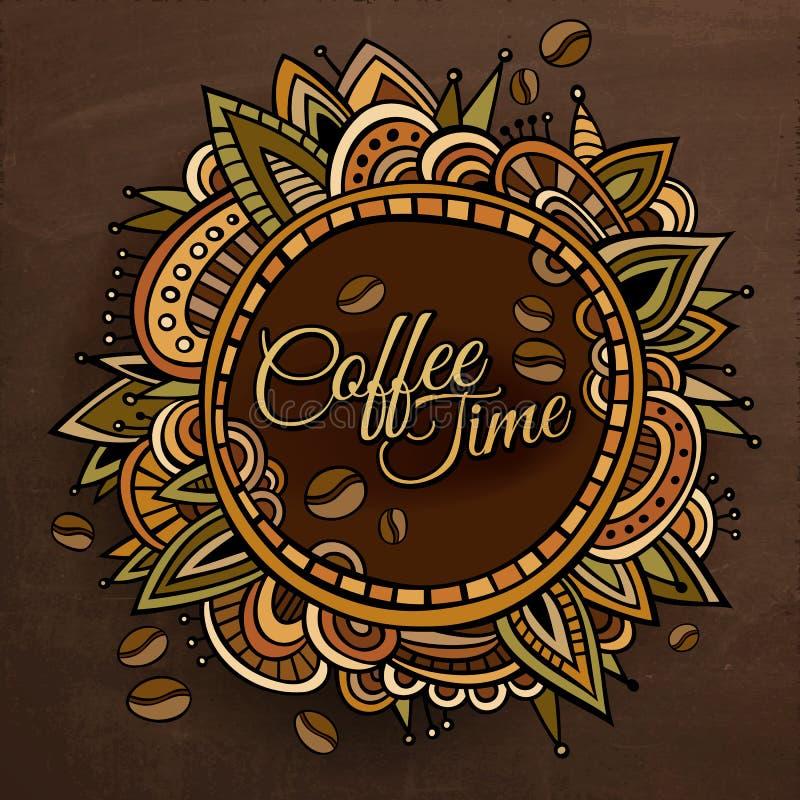 Projeto decorativo da etiqueta da beira do tempo do café ilustração do vetor