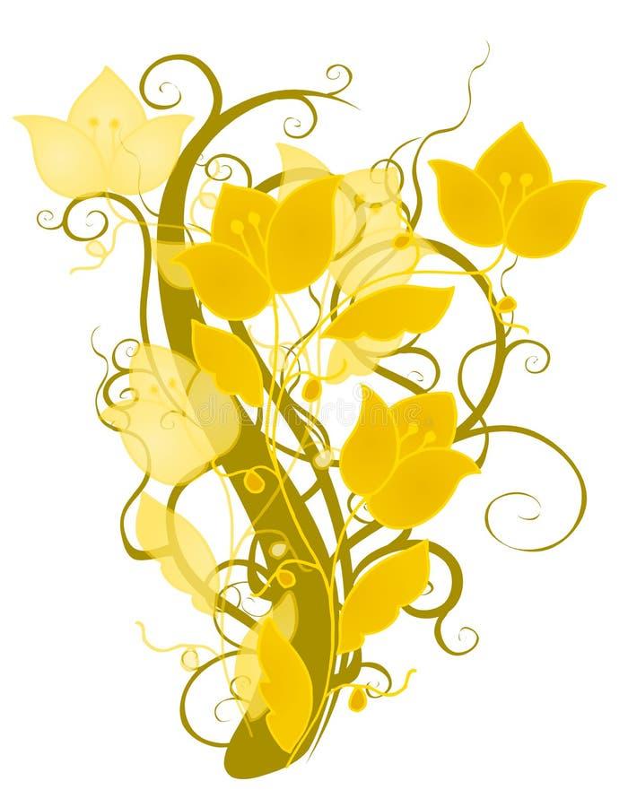 Projeto decorativo da flor do ouro ilustração stock