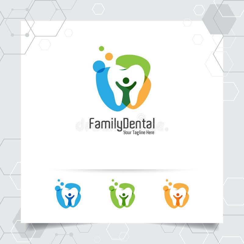Projeto dental do vetor do logotipo com conceito de povos negativos do espaço Cuidados dentários e ícone do dentista para o hospi ilustração royalty free