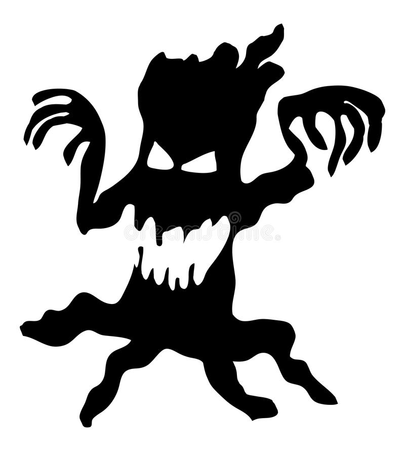 Projeto desencapado assustador assustador do ícone do símbolo do vetor do monstro da árvore de Dia das Bruxas ilustração stock