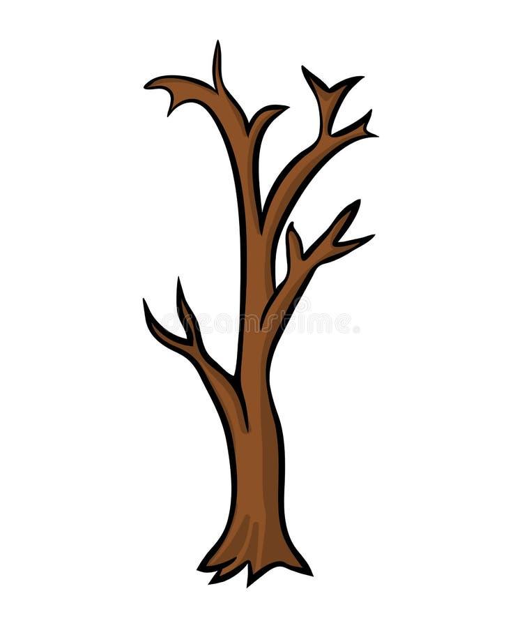 Projeto desencapado do vetor dos desenhos animados da árvore isolado no fundo branco ilustração do vetor