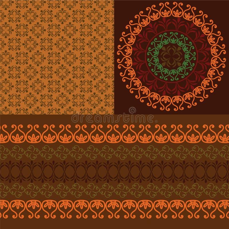 Projeto detalhado da mandala do Henna com beira de harmonização ilustração royalty free