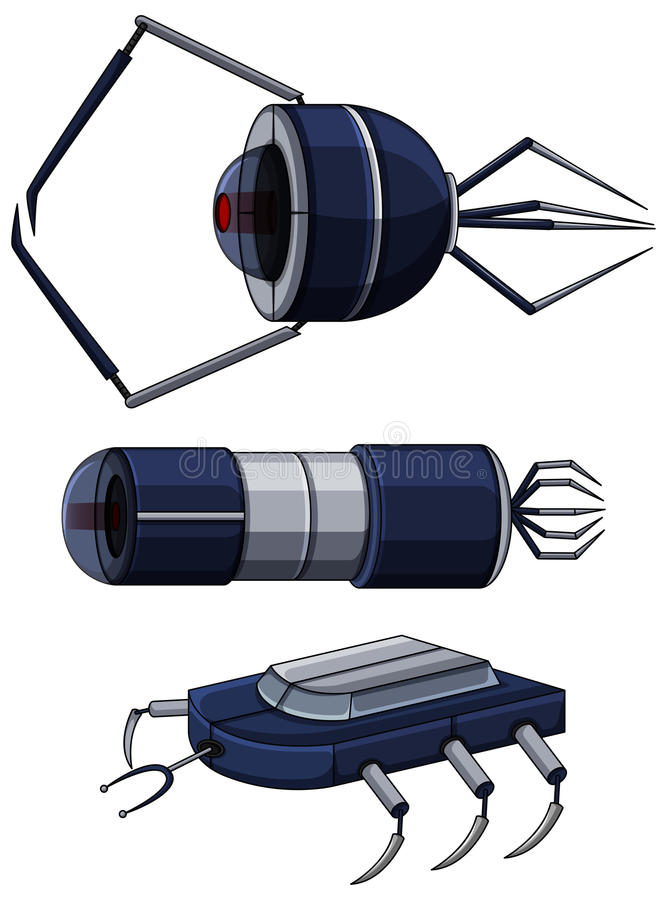 Projeto diferente dos nanobots ilustração stock