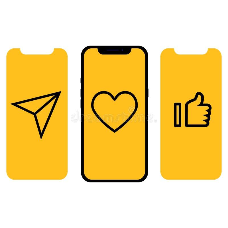 Projeto diferente UI, telas e ícones para o móbil ilustração do vetor