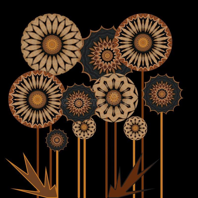 Projeto digital da arte das flores de madeira ilustração do vetor