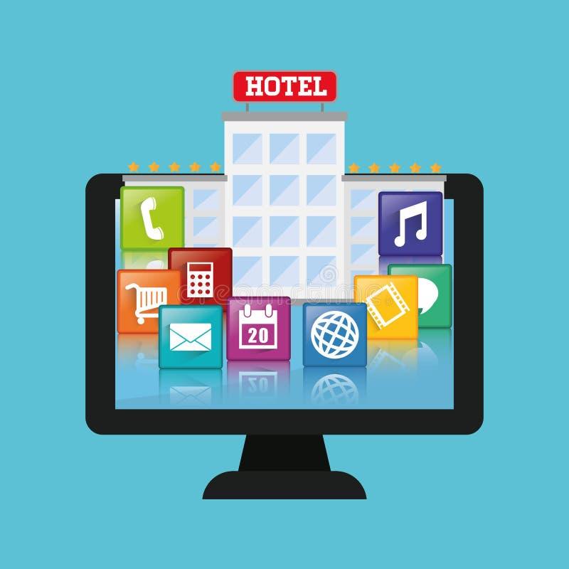 Projeto digital dos apps do computador e do hotel ilustração stock