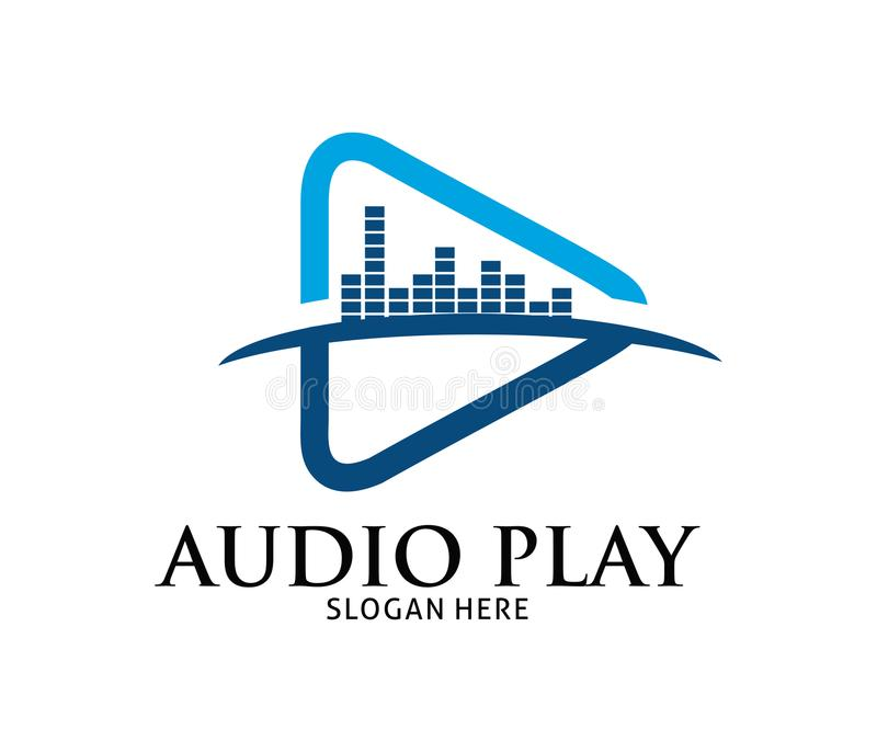 Projeto dinâmico azul do logotipo do vetor da aplicação do jogo dos multimédios ilustração royalty free