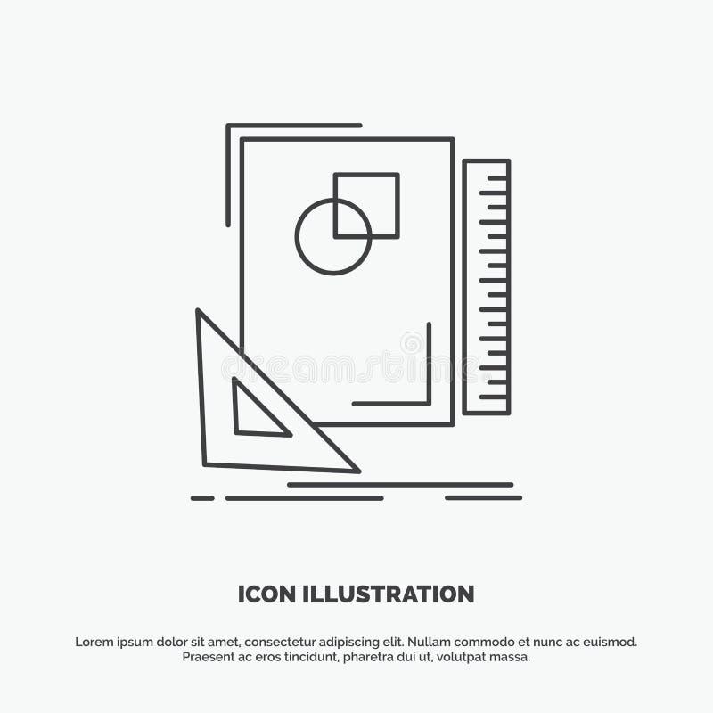 Projeto, disposição, página, esboço, esboçando o ícone Linha s?mbolo cinzento do vetor para UI e UX, Web site ou aplica??o m?vel ilustração do vetor