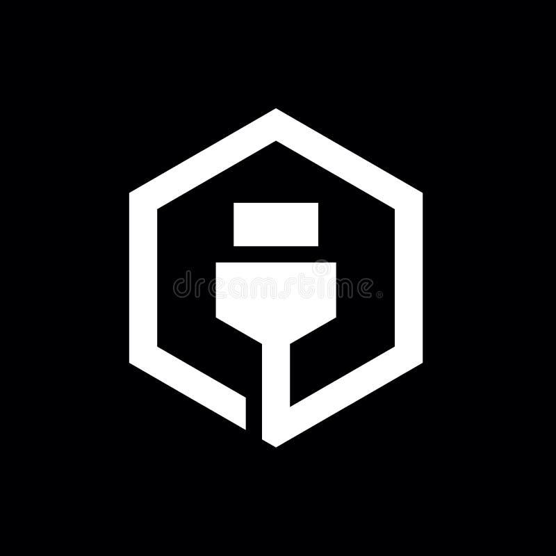 Projeto do ícone do cabo de USB, combinado com o hexágono, Logo Elements, projeto da ilustração do vetor ilustração royalty free
