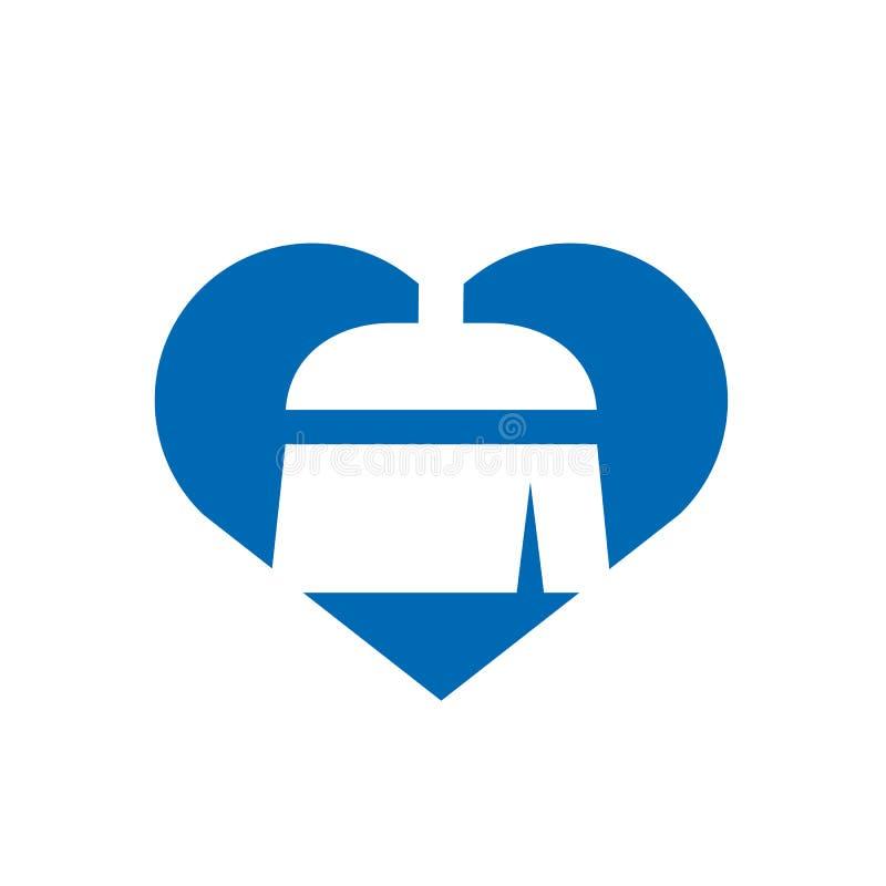 Projeto do ícone da limpeza e da manutenção Logo Concept, da vassoura e do coração, ilustração do vetor ilustração stock