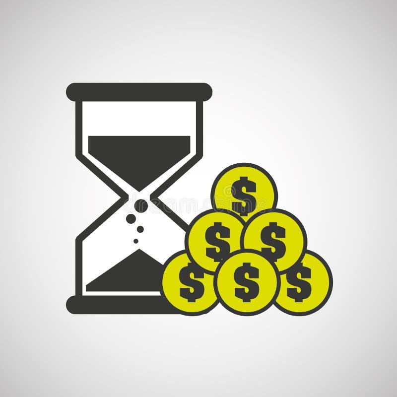Projeto do ícone da moeda do dinheiro do pulso de disparo da areia ilustração stock