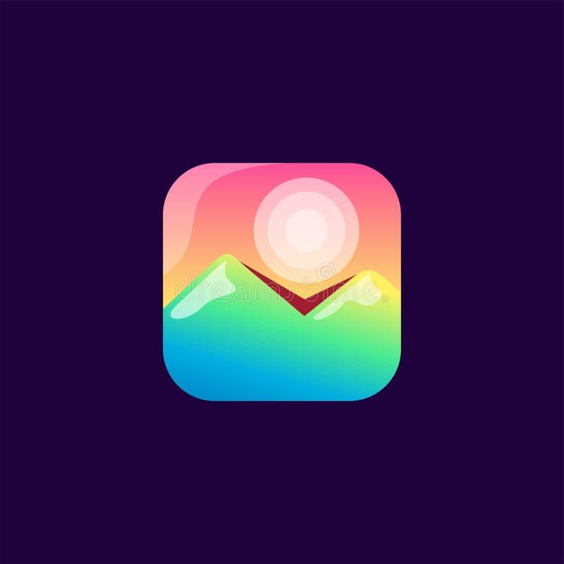 Projeto do ícone da montanha pronto para uso ilustração stock