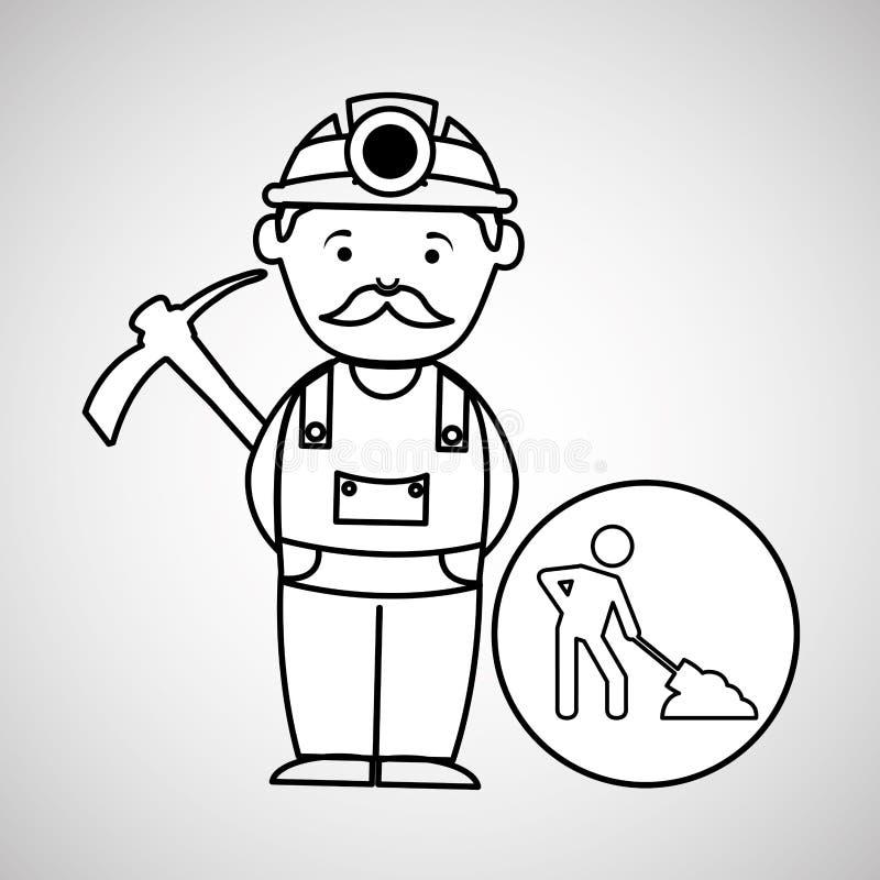 Projeto do ícone da picareta do trabalhador de mina ilustração do vetor