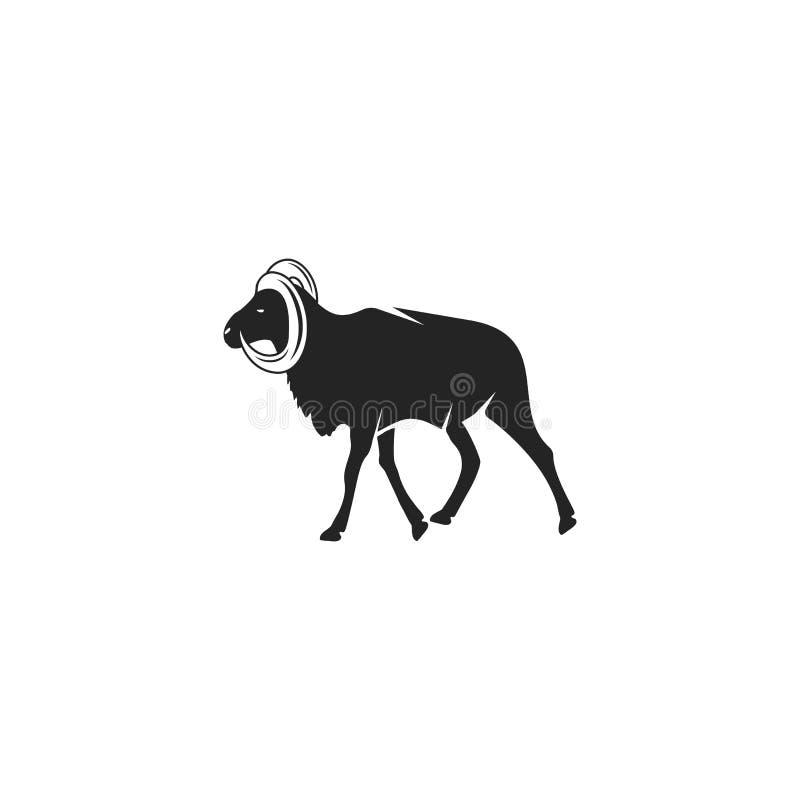 Projeto do ícone da silhueta da cabra selvagem Pictograma do preto do animal selvagem isolado Conceito conservado em estoque do v ilustração stock