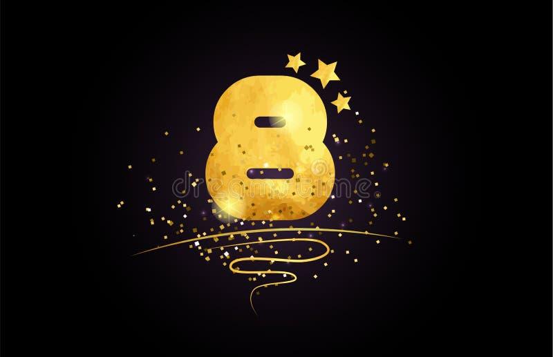 8 projeto do ícone de oito números com estrela dourada e brilho ilustração royalty free