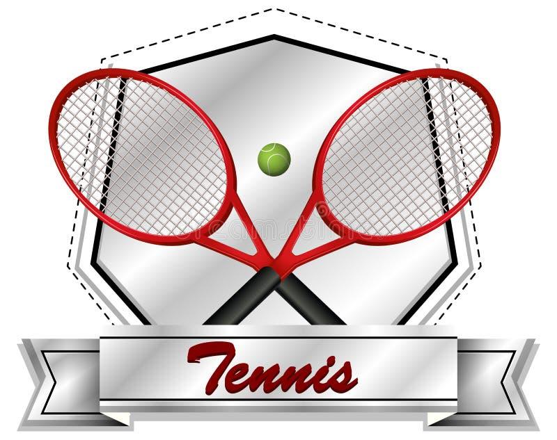 Projeto do ícone do esporte com raquetes e bola de tênis ilustração stock