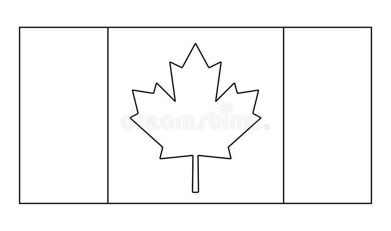 Projeto do ícone do símbolo do vetor do esboço da bandeira de Canadá ilustração do vetor