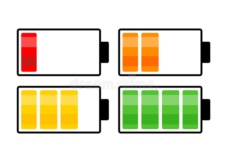 Projeto do ícone do símbolo do vetor do nível da carga da bateria Illust bonito ilustração stock