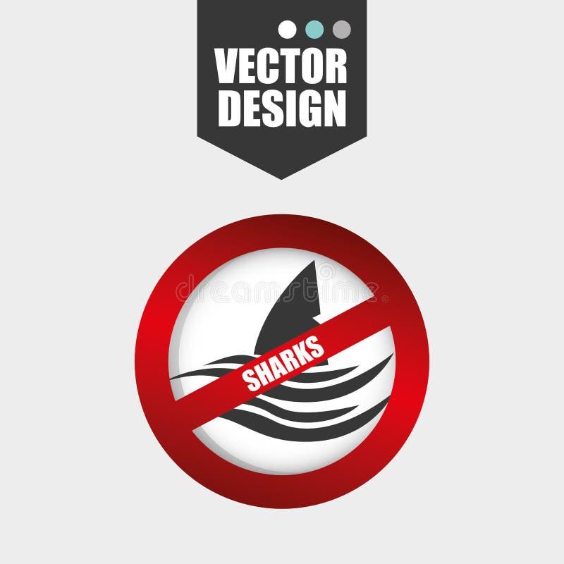 projeto do ícone do tubarão ilustração stock