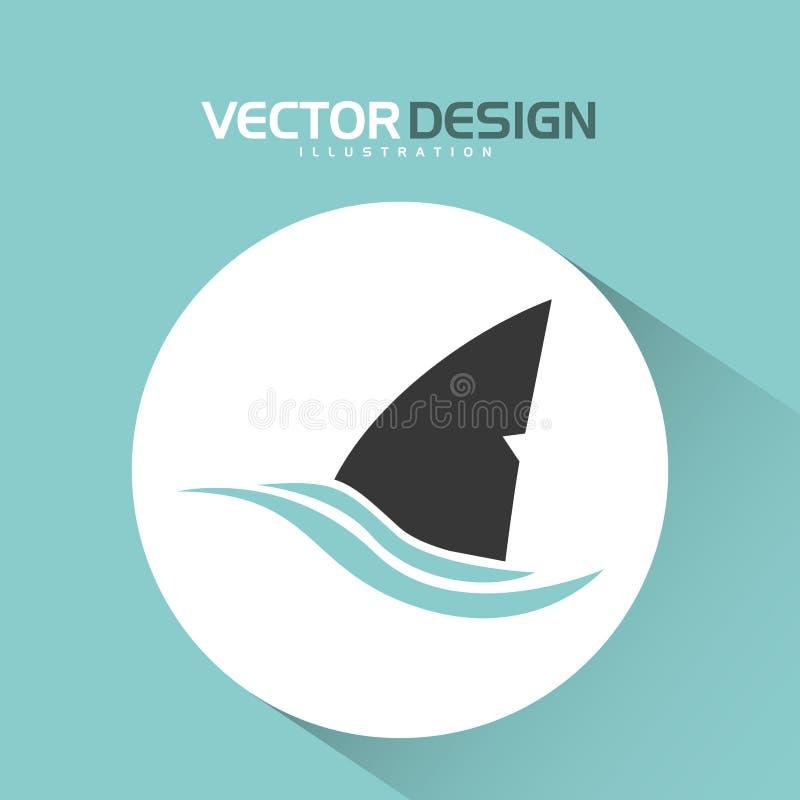 projeto do ícone do tubarão ilustração royalty free