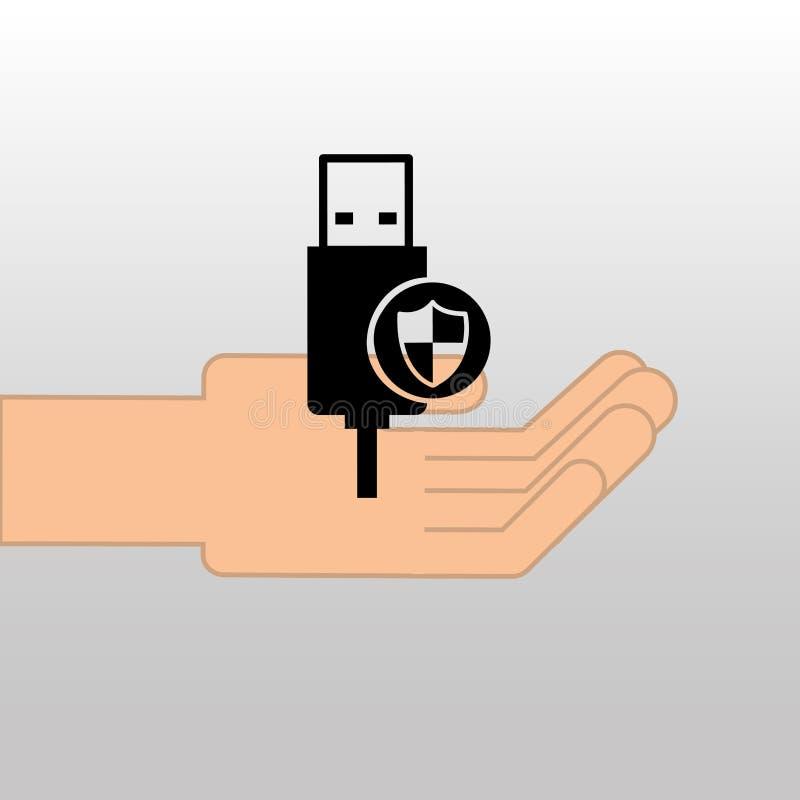 Projeto do ícone dos dados da segurança da proteção de USB do conceito ilustração royalty free