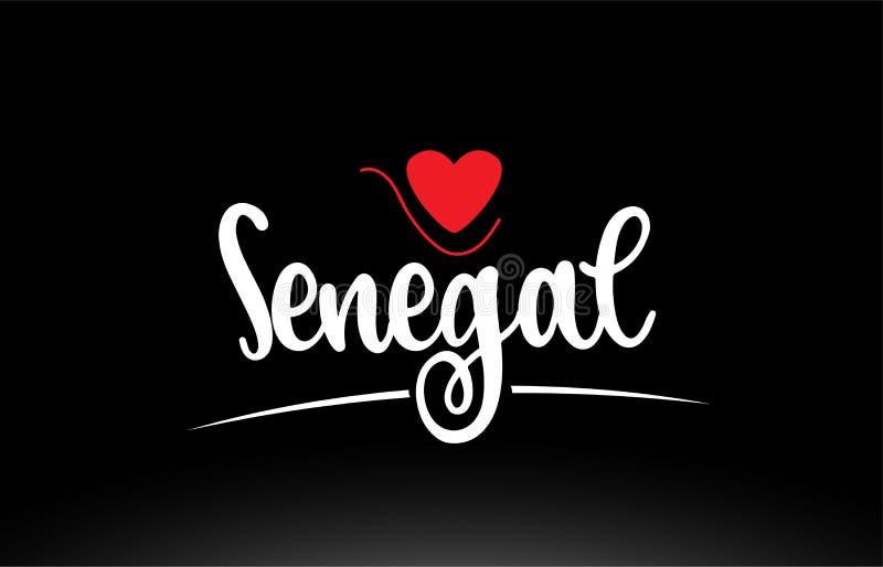 Projeto do ícone do logotipo da tipografia do texto do país de Senegal no fundo preto ilustração do vetor