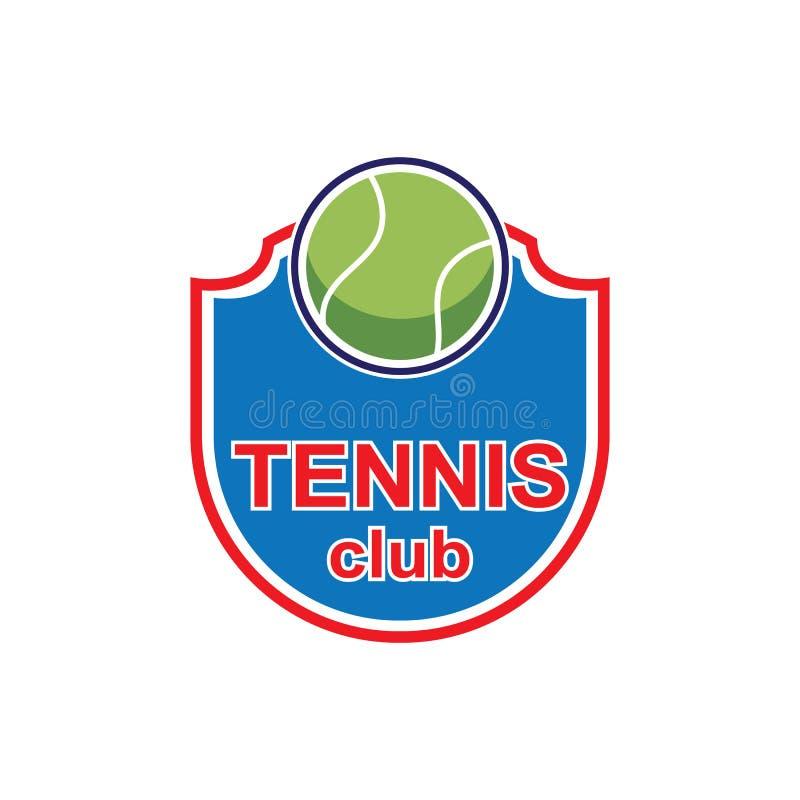 Projeto do ícone do logotipo do esporte do tênis, molde do crachá ilustração stock