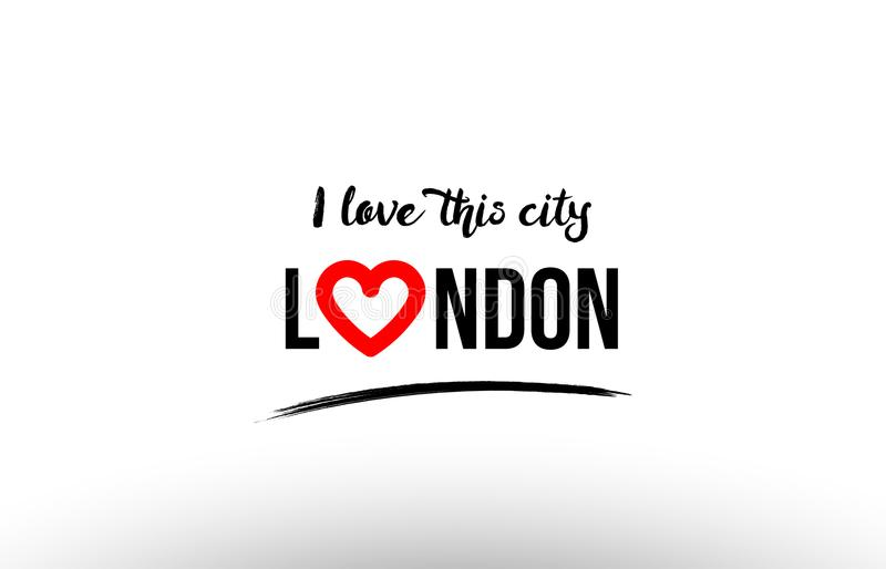 projeto do ícone do logotipo do turismo da visita do coração do amor do nome da cidade de Londres ilustração stock
