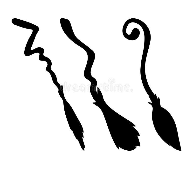 Projeto do ícone do símbolo do vetor dos desenhos animados da silhueta da vassoura de bruxa Beauti ilustração royalty free